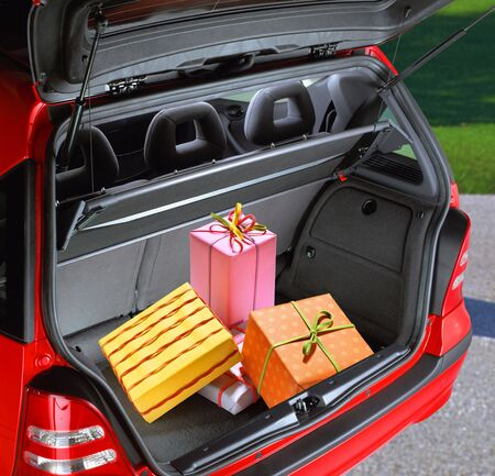a fancy boxes in the passenger compartment of car