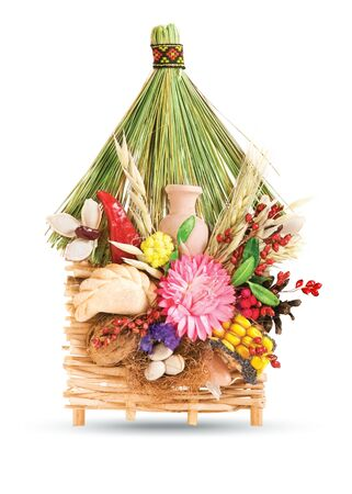 Ukrainian souvenir that made of dried materials and plants photo