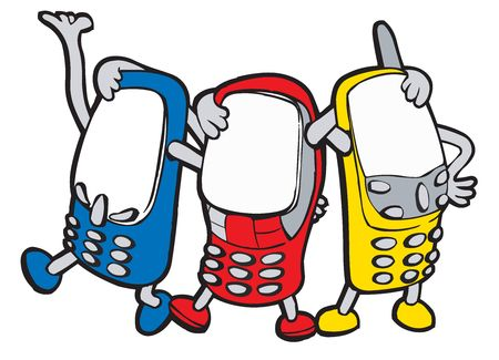 Colour animated mobile phones with handles and legs stands having embraced photo