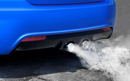 combustible: pollution of environment by combustible gas of a car Stock Photo