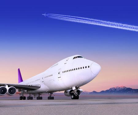 airport and the big plane in evening time photo