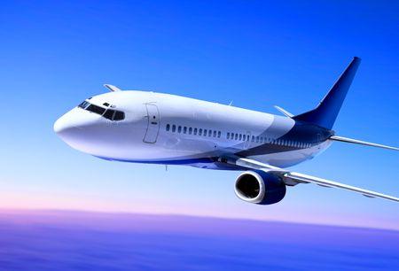 Avión de pasajeros en el cielo azul que se distancia de aterrizaje