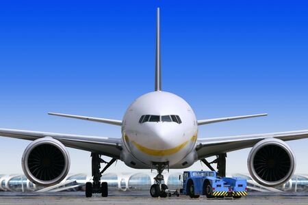 big passenger airplane is waiting for departure in airport Stock Photo - 6318291