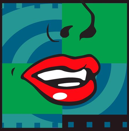 Abstract drawing in the form of zigzag and lips photo