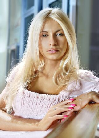 beautiful blonde womans face close-up with natural make-up photo