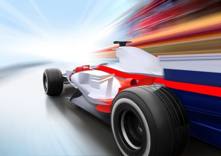 race winner: driving at high speed in empty road - motion blur Stock Photo