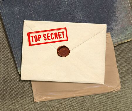 dorsal view of military top secret envelope with stamp photo