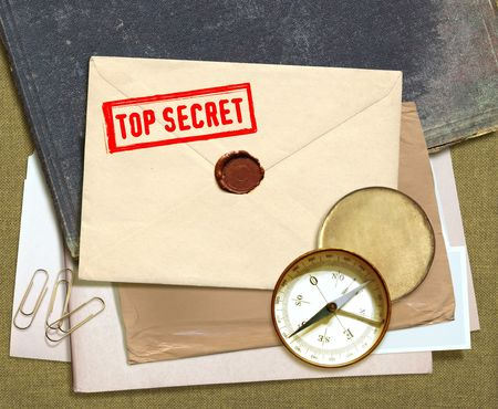 military press: dorsal view of military top secret documents with stamp Stock Photo