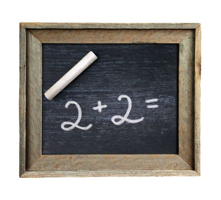 unsuitable: Ancient portable school board on which figures written by chalk