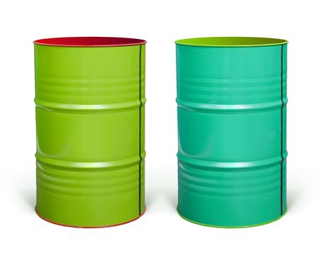 two coloured steel barrels on white background with paths Stock Photo - 6633132