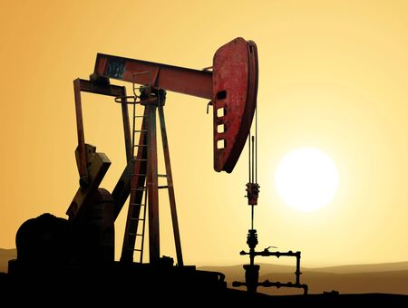oilwell: Working oil pump in deserted district at sunset Stock Photo