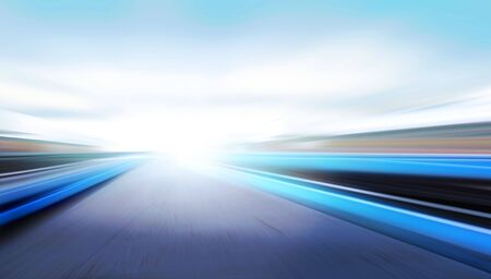 field stripped: driving at high speed in empty road - motion blur Stock Photo