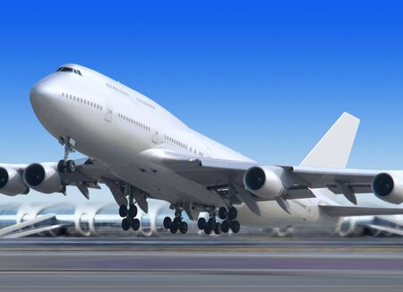 TAKEOFF: big flying up passenger airplane on airport background Stock Photo
