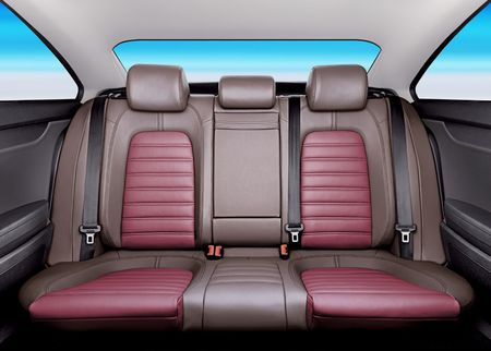 Back passenger seats in modern sport car, frontal view photo