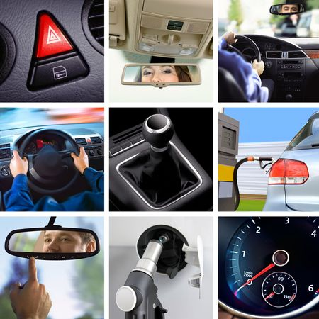collage of car interior details and transport attributes photo