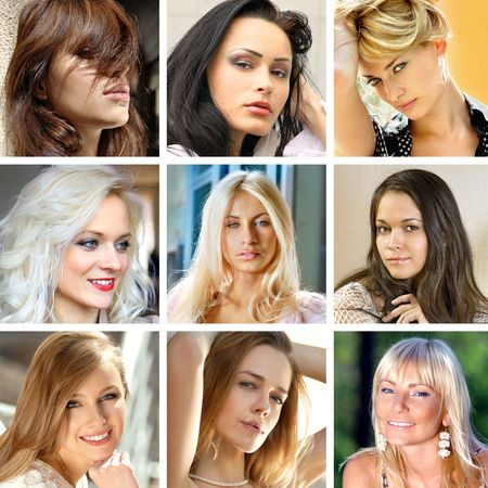 photo collage of beautiful faces of many women photo