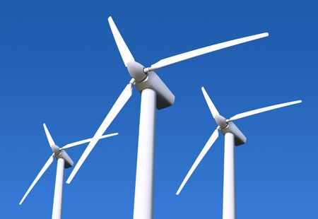 wind mill: Three white wind turbine generating electricity on blue sky
