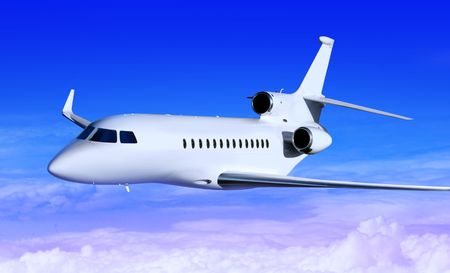 supersonic transport: private white jet plane in the blue sky