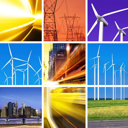 voguish: collage of electric power and innovative energy industry Stock Photo
