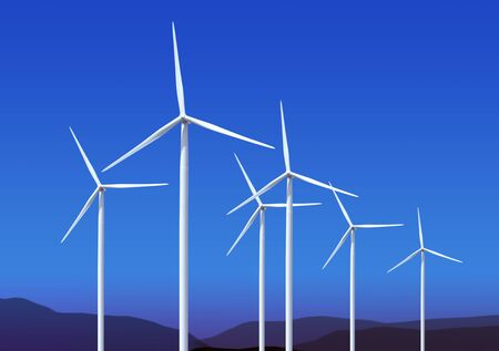 Three white wind turbine generating electricity on blue sky Stock Photo - 7063365