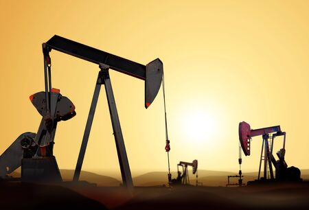 energy crisis: Working oil pump in deserted district at sunset Stock Photo