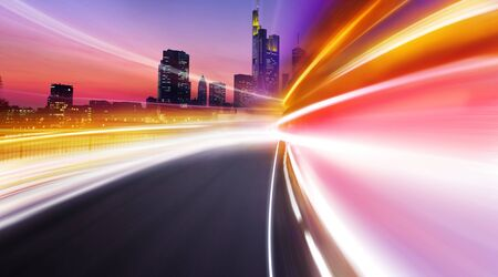 megapolis: Greased light on high-speed highway of night city