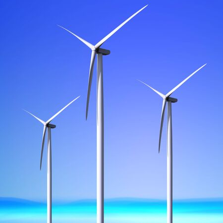 Three white wind turbine generating electricity on blue sky Stock Photo - 7150332