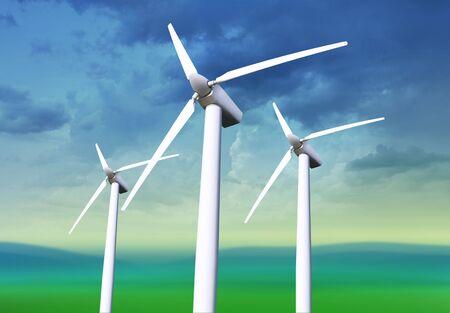 Three white wind turbine generating electricity on blue sky Stock Photo - 7410616