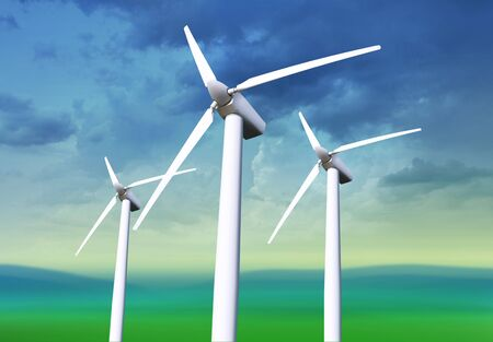Three white wind turbine generating electricity on blue sky Stock Photo - 7410616