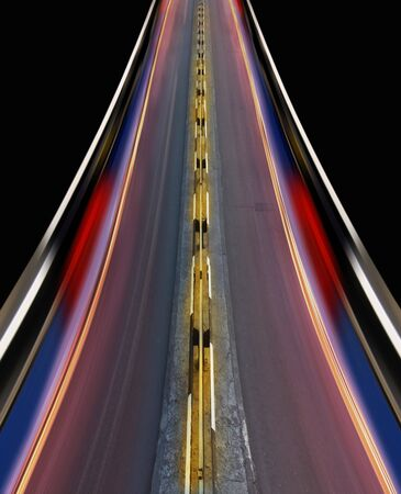 Greased light on high-speed highway of night city photo