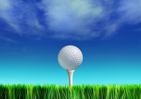 Golf ball on grass against blue sky and white clouds  Stock Photo
