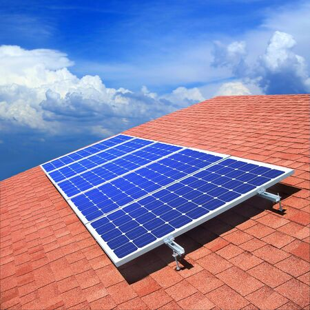 conservation: Solar panels on the roof of private home