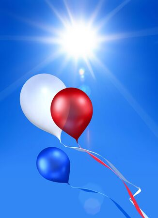 toy balloon soaring in the blue sky under shining sun photo