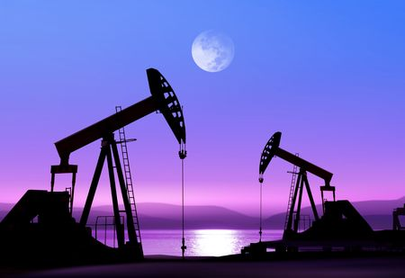 Arbeiten Ölpumpe im verlassenen Landkreis in die helle des Mondes Standard-Bild