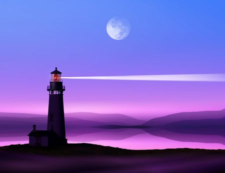 littoral: romantic lighthouse near Atlantic seaboard shining at night in the bright of the moon