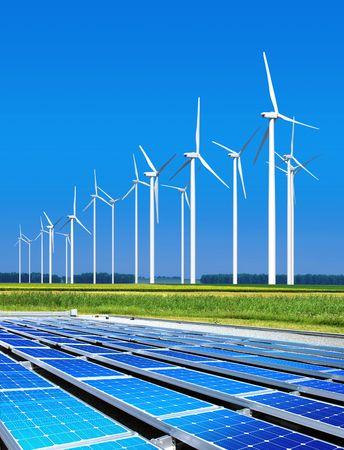 paneles solares: ambientalmente benignas paneles solares y turbinas de viento, generar electricidad
