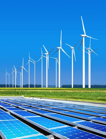 solar electric: environmentally benign solar panels and wind turbines generating electricity