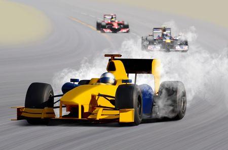 breakage: breakdown of formula race car on speed track