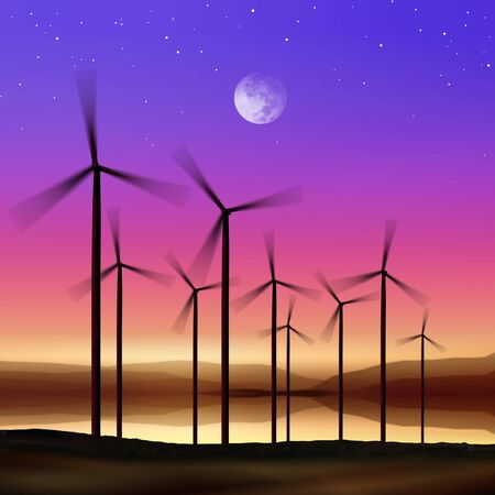 windfarm: silhouette of wind turbines generating electricity on night sky