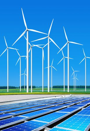 electric cell: environmentally benign solar panels and wind turbines generating electricity