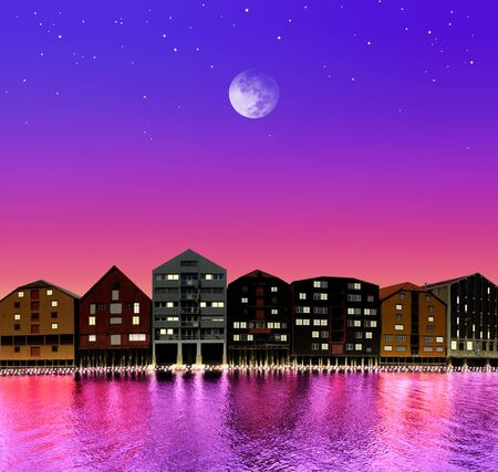 silhouette of fairytale town on night sky in the bright of the moon photo
