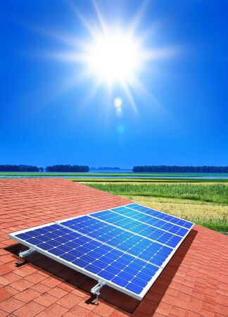 array: solar-cell array on the roof of private home