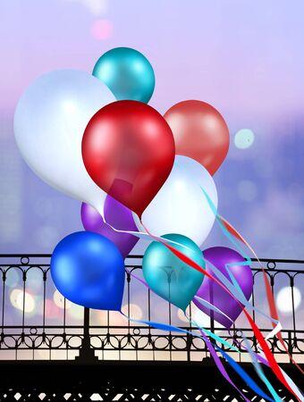toy balloons soaring over illuminate town for festivity photo