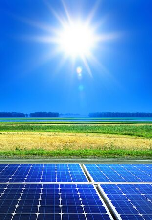 array: solar cell array in the field, renewable energy Stock Photo