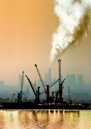a view of atmospheric air pollution from factory photo