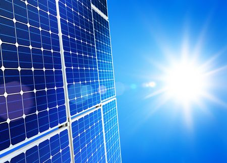 Renewable, alternative solar energy, sun-power plant on sky background Stock Photo