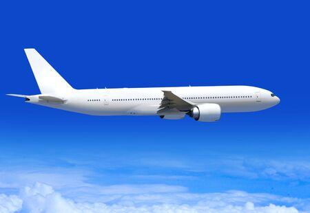 avión de pasajeros blanco altamente vuela sobre nubes de aerosphere