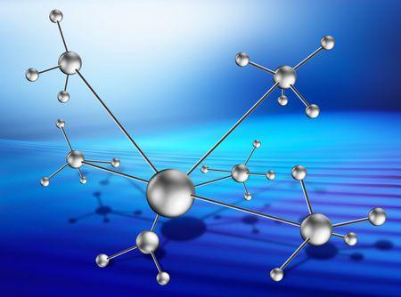 microcosm: image of molecular lattice on art background like technology progress with path Stock Photo