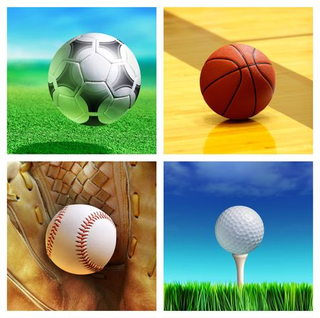 correspond: collage of sport balls which correspond to the game