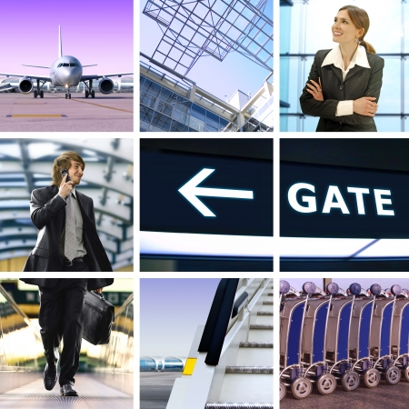 departure board: collage of business trip by means of avia transport